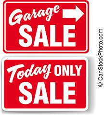 Garagenpfeil heute NUR SALE-Schild.