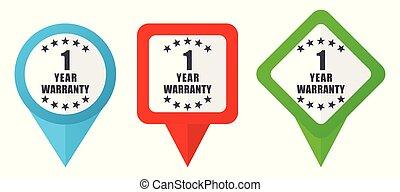 Garantie 1 Jahr rote, blaue und grüne Vektorzeiger Icons. Farbige Positionsmarker, isoliert auf weißem Hintergrund leicht zu bearbeiten