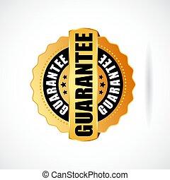 garantie, abzeichen, gold