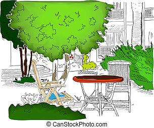 garden., café, gefärbt, version2, teilweise