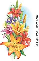 Garland der Lilien und Iris Blumen.
