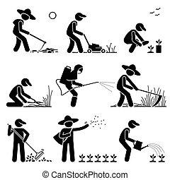 Gartenbauern benutzen Werkzeuge.