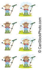 Gartenkinder winken einen Gruß