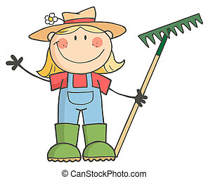 Gartenmädchen winkt einem Gruß.