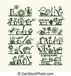 Gartenwerkzeuge auf Regalen, Skizze für dein Design