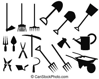 Gartenwerkzeuge Silhouette Vektorset.