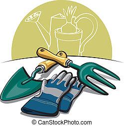 Gartenwerkzeuge und Handschuhe
