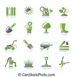 Gartenwerkzeuge und Objekte