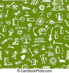 Gartenwerkzeugskizze, nahtloses Muster für Ihr Design