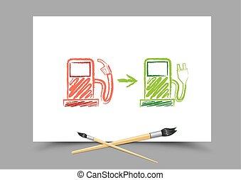 gas, evolutionsphasen, station, zukunft, zeichnung