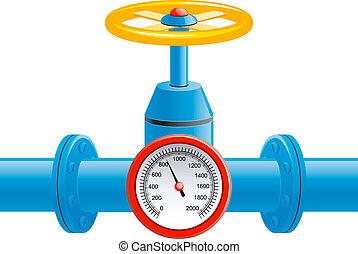 Gasrohrventil und Druckmesser