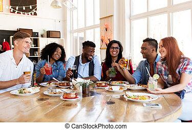 gasthaus, glücklich, essen trinken, friends