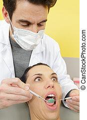 geöffnet, frau, stuhl, mund, zahnarzt