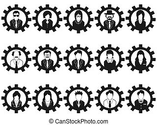 Gear Business Leute Avatar Icons.