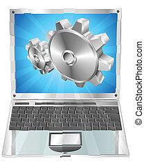Gear-Cogs fliegen aus dem Laptop-Screen-Konzept