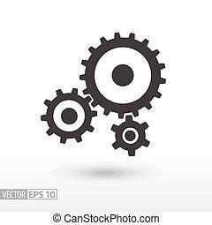 Gear Flat Icon. Unterschreiben. Vector Logo für Web-Design, mobile und infographics