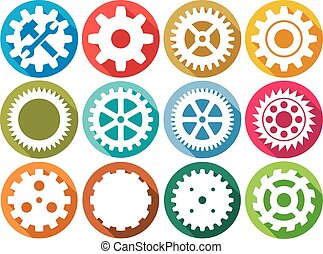 Gear Flat Icons Sammlung.