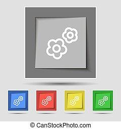 Gear Symbol auf originalen fünf farbigen Tasten. Vector