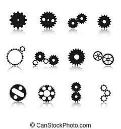 Gear Wheel Silhouetten.