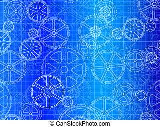 Gearreife Räder Blaupause