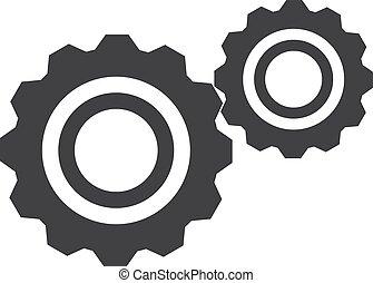 Gears Icon in schwarz auf weißem Hintergrund. Vector Illustration