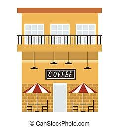 gebäude, bohnenkaffee, städtisch