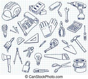 gebäude, freehand, materialien, zeichnung
