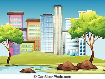 Gebäude und Park in der Stadt.