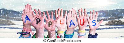 gebäude, wort, verschneiter , mittel, kinder, beifall, hintergrund, beifall, winter, hände