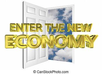 Geben Sie die neue Wirtschaft öffnen Tür Gelegenheit 3D Illustration.