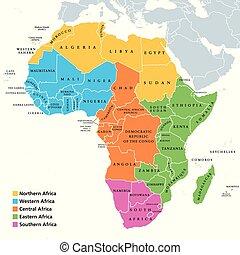 gebiete, landkarte, ledig, afrikas, länder