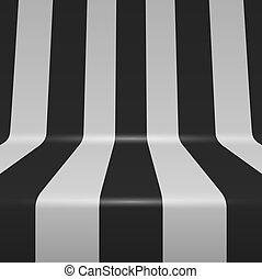 gebogen, senkrechte streifen, hintergrund., vektor, schwarz, weißes