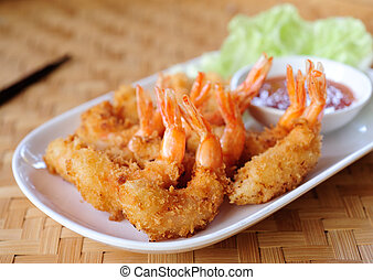 Gebratene Shrimps.
