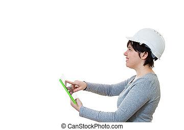 gebrauchend, ingenieur, tablette pc