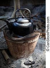 gebraucht, altes , bach, kochherd, kessel, wasser, tradition