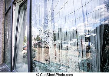 Gebrochenes Glasfenster.