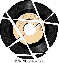 Gebrochenes Vinyl Record mit Musikzeichen