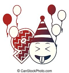 Geburtstag emoticon Party Hut Ballons neun Nummern.