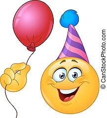 Geburtstags-Emoticon mit Ballon.