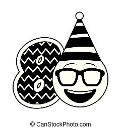 Geburtstags-Emoticon Party Hut und Nummern Dekoration.