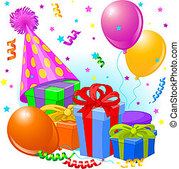 Geburtstagsgeschenke und Dekoration