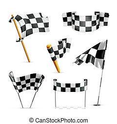 Gecheckte Flaggen, Vektor-Set