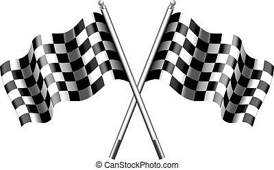 Gedeckte, karierte Flaggenrennen.