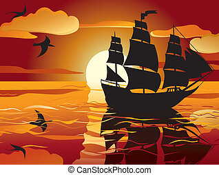 gefäß, segeln, sunset.
