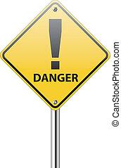 Gefährliches Verkehrszeichen auf weiß.