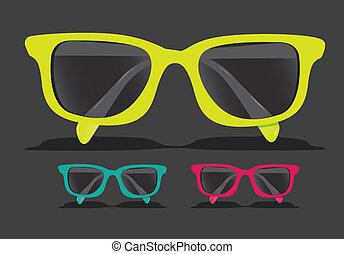 gefärbt, brille