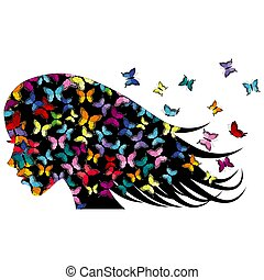 gefärbt, butterflies.eps, profil, m�dchen