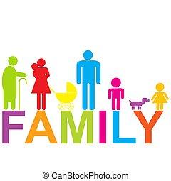 gefärbt, kinder, großeltern, ikone, familie, eltern