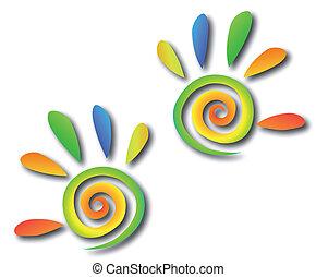 Gefärbte Spiralhände mit Fingern. Vector
