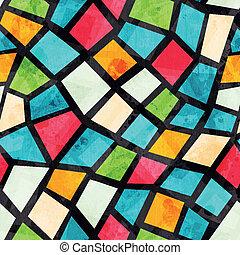 Gefärbtes mosaisches, nahtloses Muster mit Grunge-Effekt